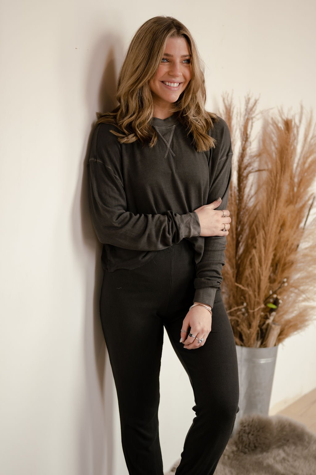Emory Park Charcoal Knit Top