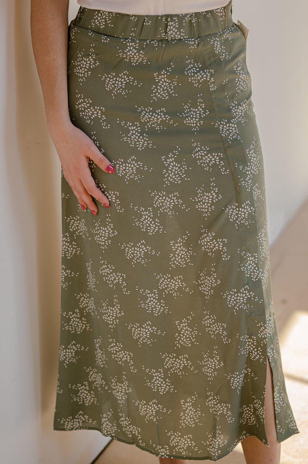 Millibon Sage Floral Midi Skirt