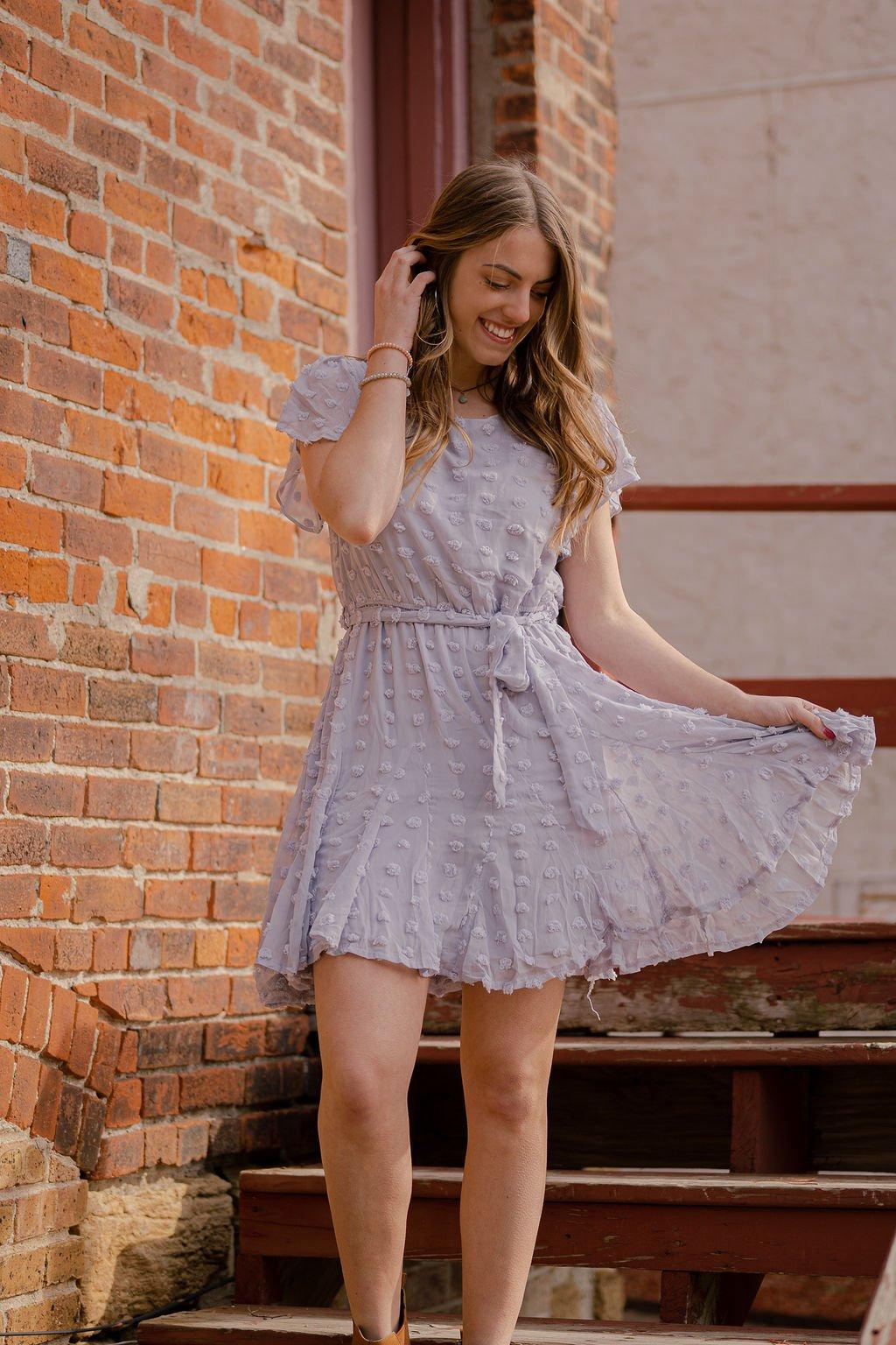 She & Sky Blue Grey Dress