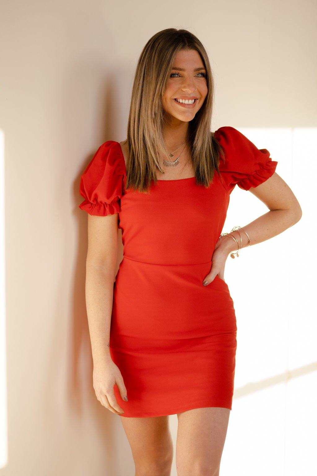 She  + Sky Red Dress