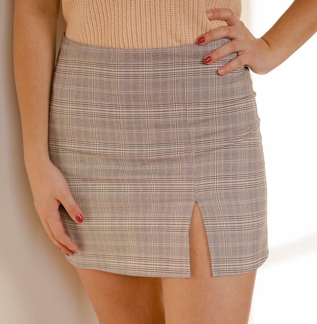 Olivaceous Grey Plaid Skirt