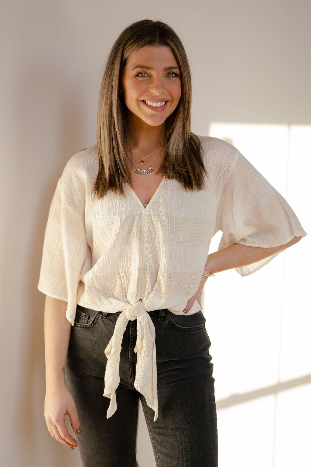 Lovestitch Taupe/White Stripe Tie Shirt