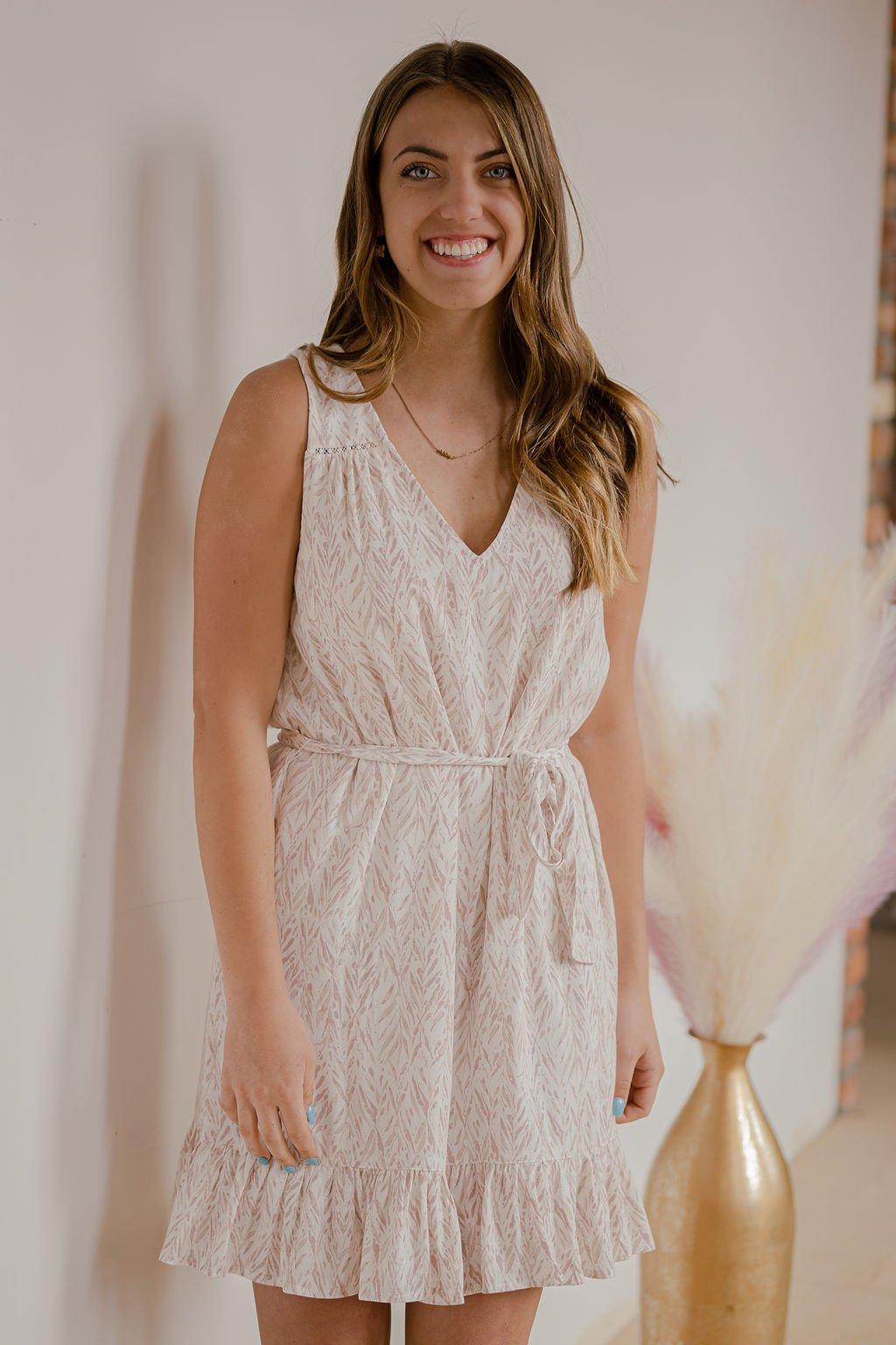 Gentle Fawn White Leaf Pixel Dress