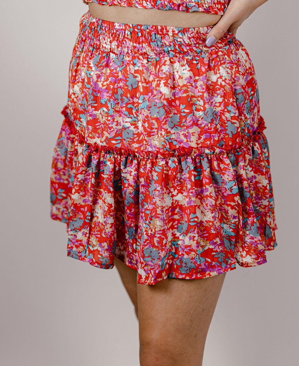 Fanco Cranberry  Floral Print Skirt