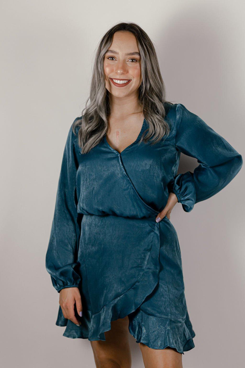 Sadie & Sage Aquamarine Endless Summer Wrap Dress