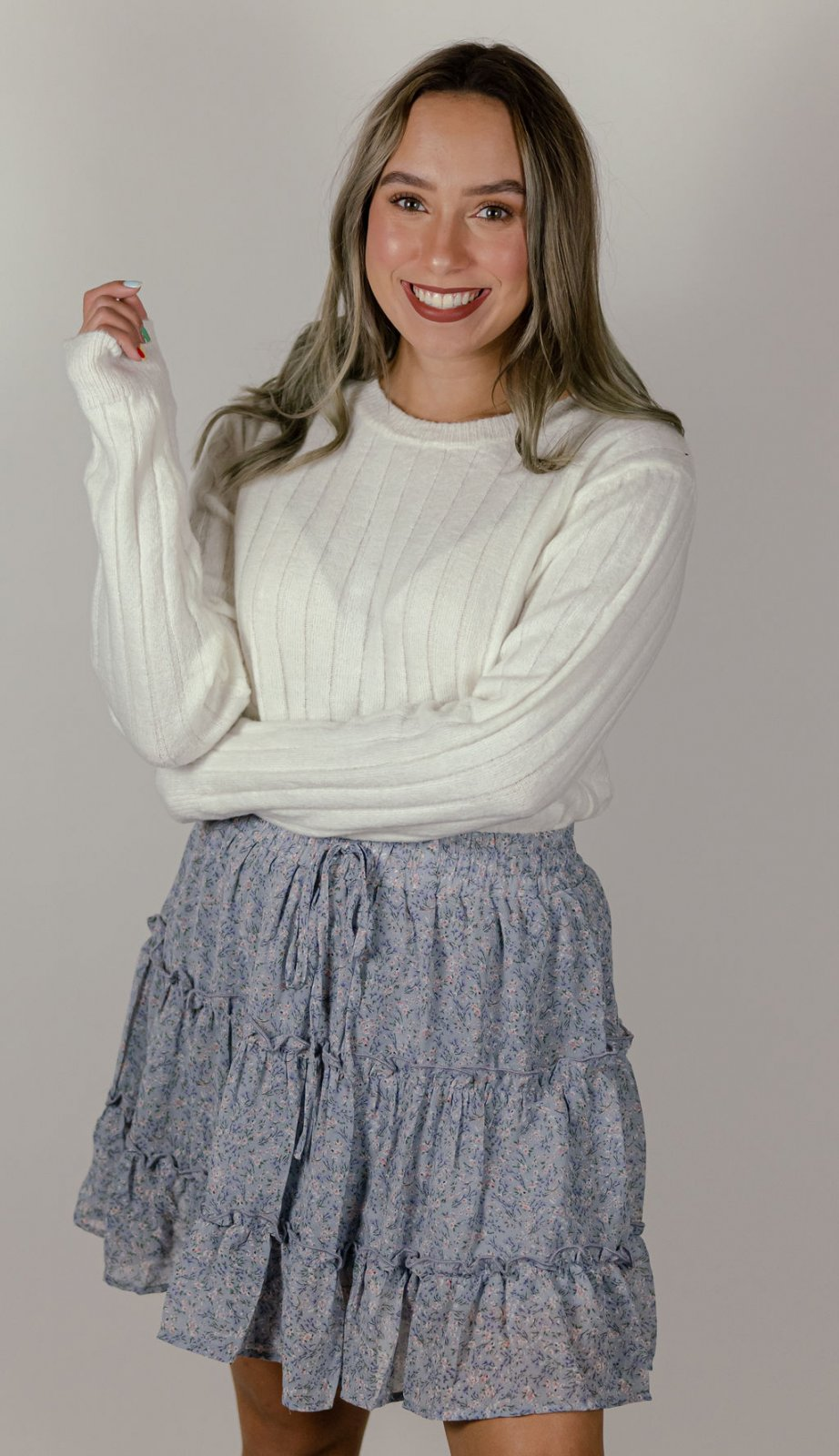 She + Sky Lilac Floral Skirt