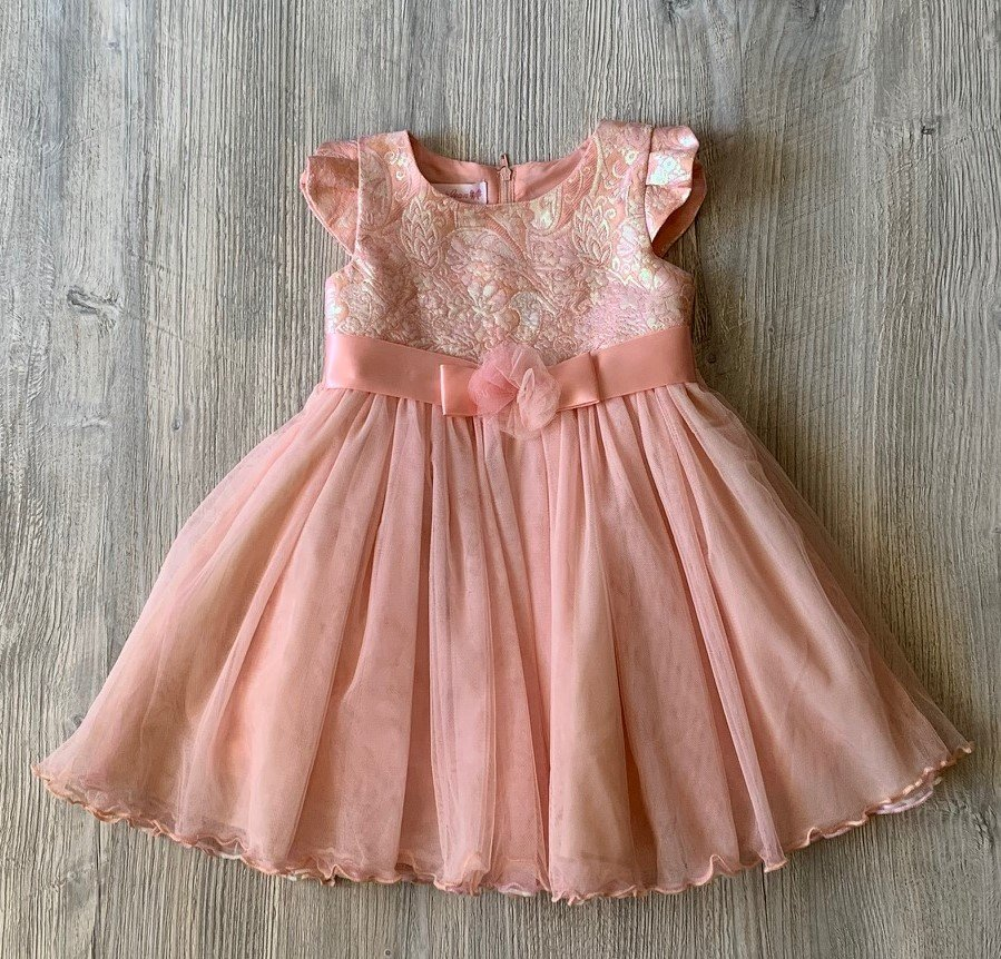 Bonnie Jean Baby Cream & Peach Dress