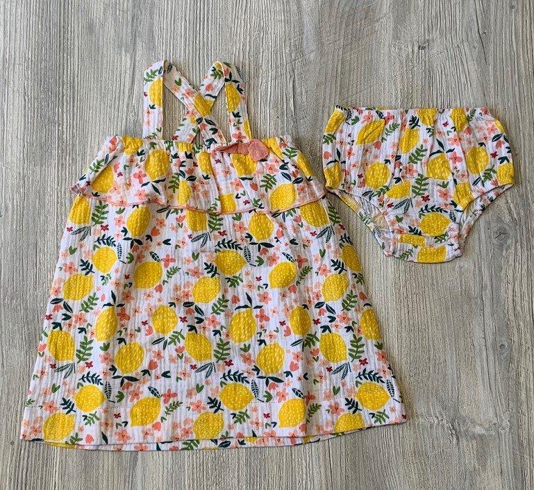 Mud Pie Lemon Floral Dress Set