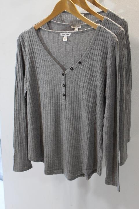 Tribal Grey Knit Button Top