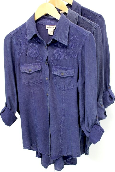 Lola Blue Embroidered Button Shirt
