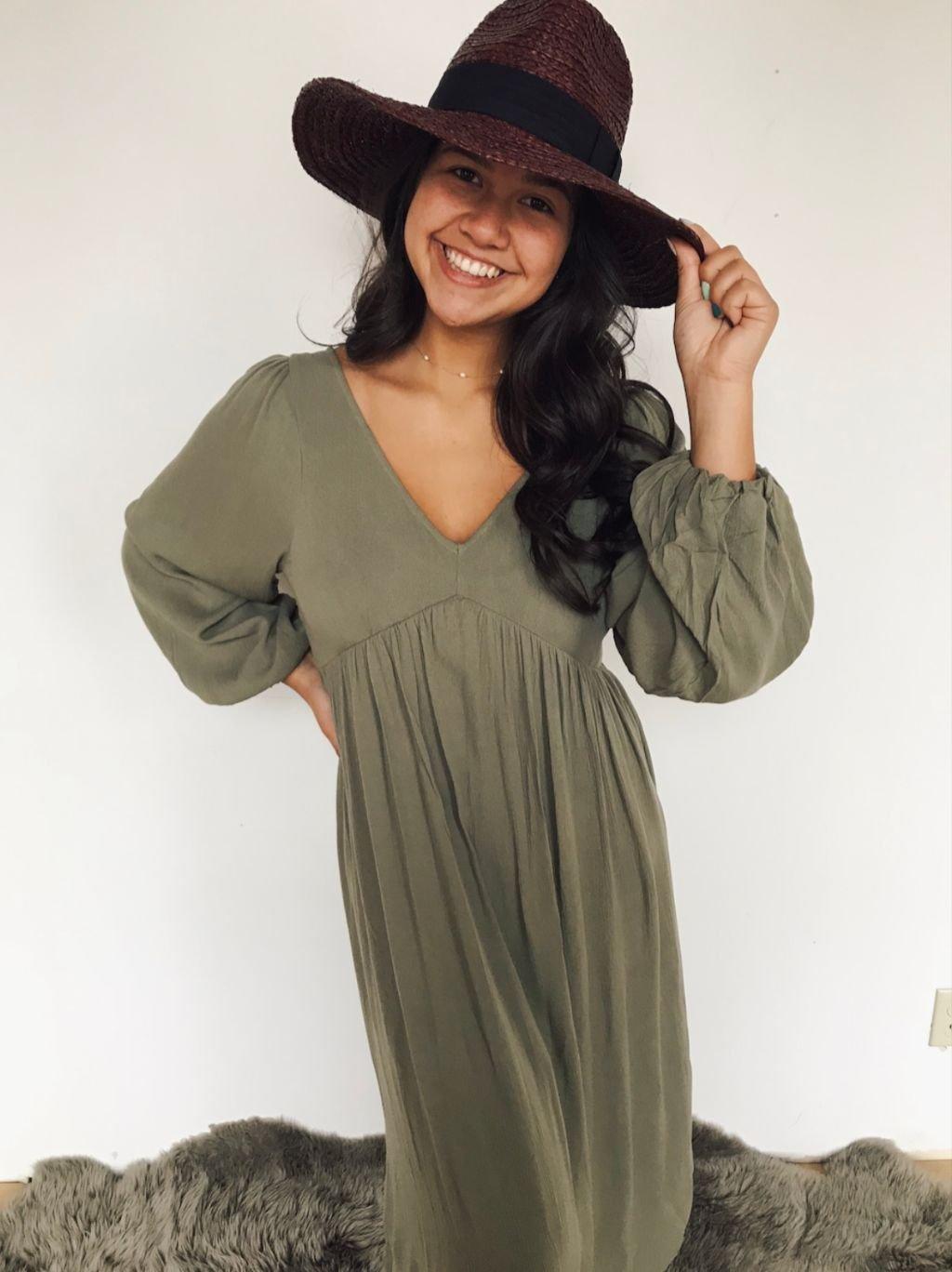 L Love Olive Green Maxi dress