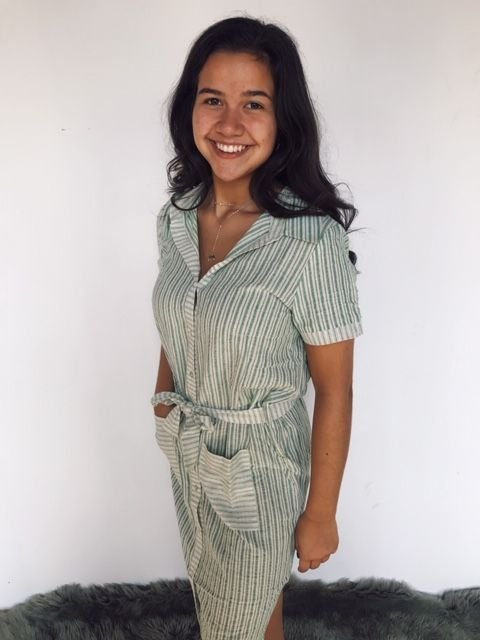 LLove Spring Green Stripe Belted Dress