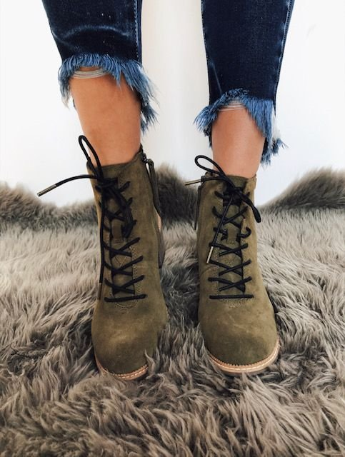 Toms Finn Olive Suede Military Boot