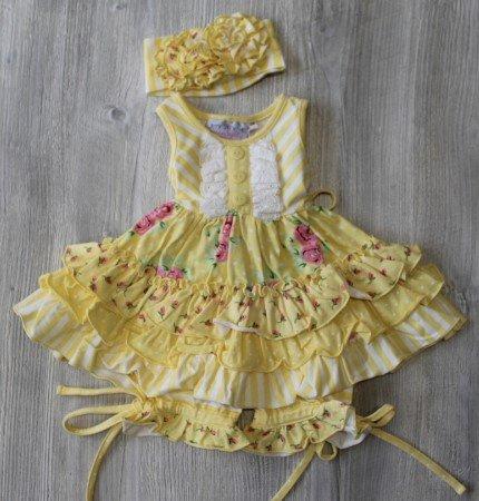 Serendipity Light Yellow Floral Dress Set