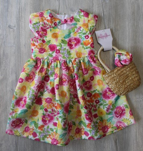 Bonnie Jean Floral Dress with Purse