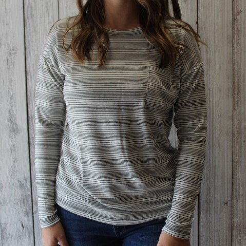 Cherish Black/Cream stripe long sleeve top