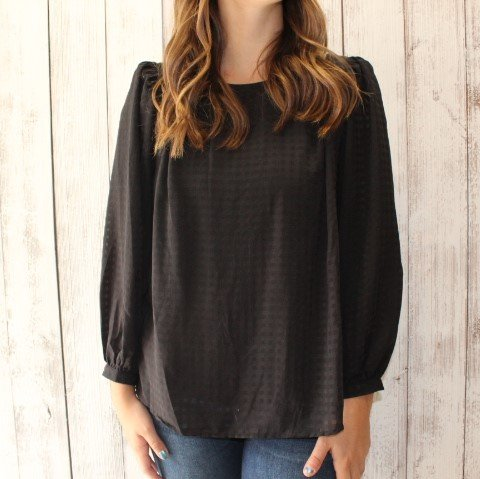 Mustard Seed Black textured long sleeve blouse