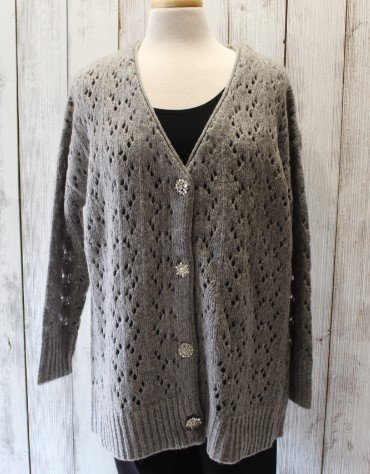 Caryn Vallone Grey Cardigan with Jewel Buttons