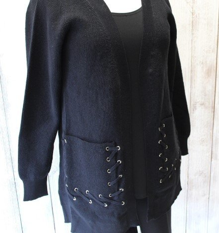 Caryn Vallone Cardigan with Detailed Pocket