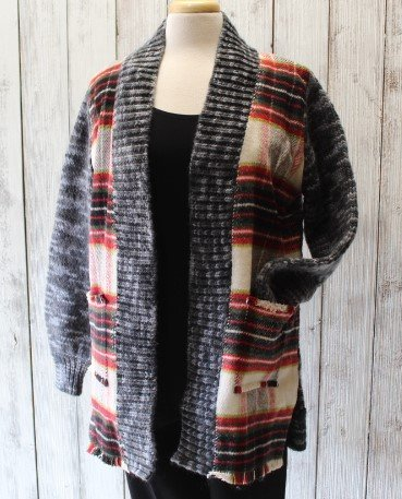 Caryn Vallone Printed Cardigan Sweater