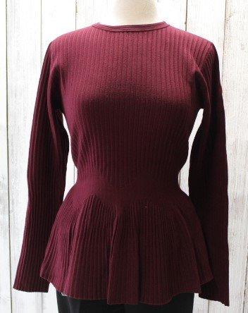 Milano/Sioni Ribbed Burgundy Peplum Sweater