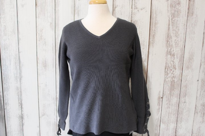 Caryn Vallone Grey Sweater with Sleeve Details