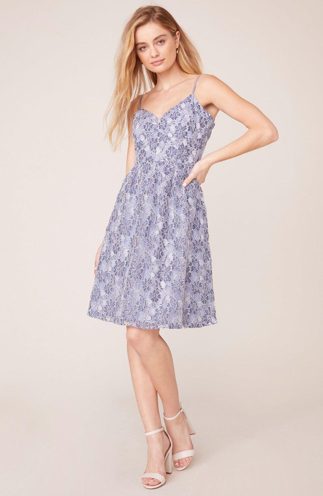 Jack by BB Dakota Two-Tone Lace Sweetheart Blue Midi Dress