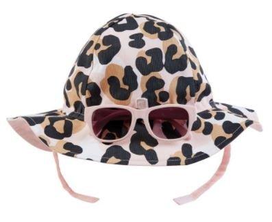 Mud Pie Leopard Sun Hat & Sunglasses Set