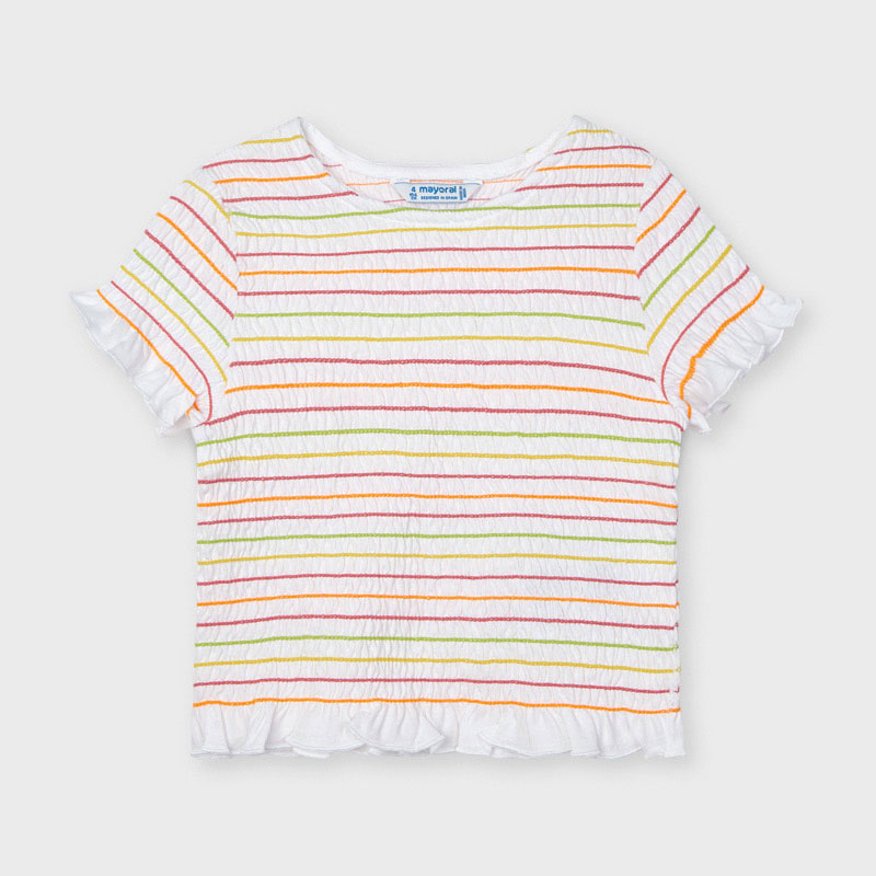 Mayoral White Striped Smock Top