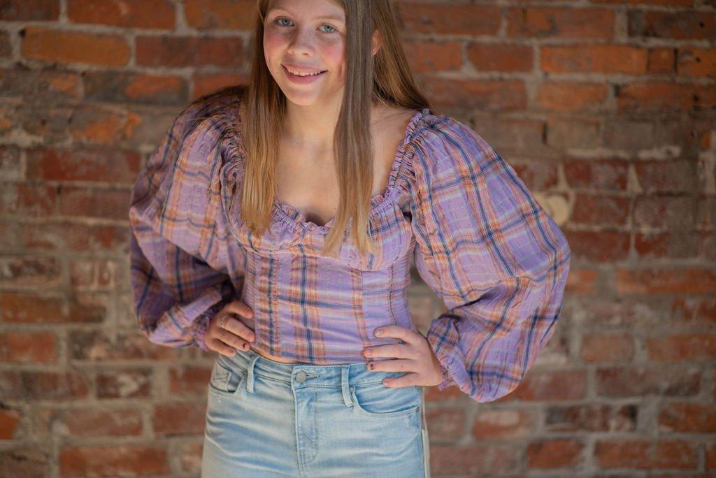 Free People lilac plaid shirt
