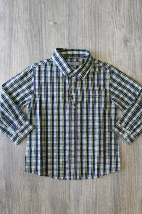 Mayoral Blue/Green Plaid Button Up