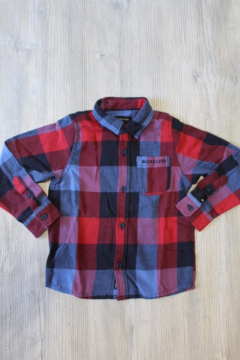 Quiksilver Blue & Red Checkered Button Up