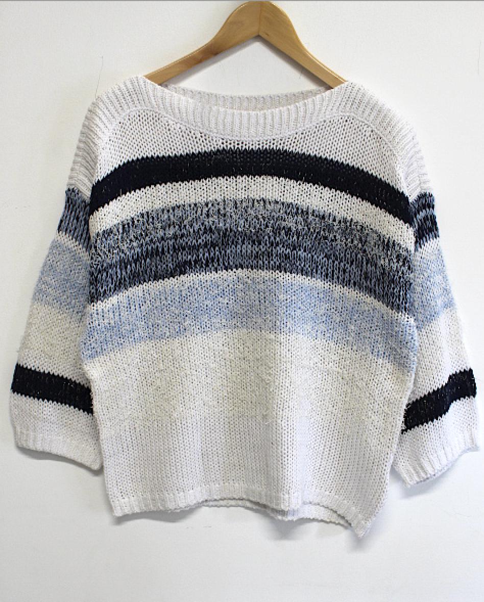 Tribal Striped White/Blues Sweater