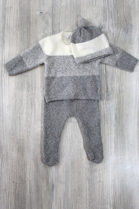Mayoral Grey Striped Fuzzy Set