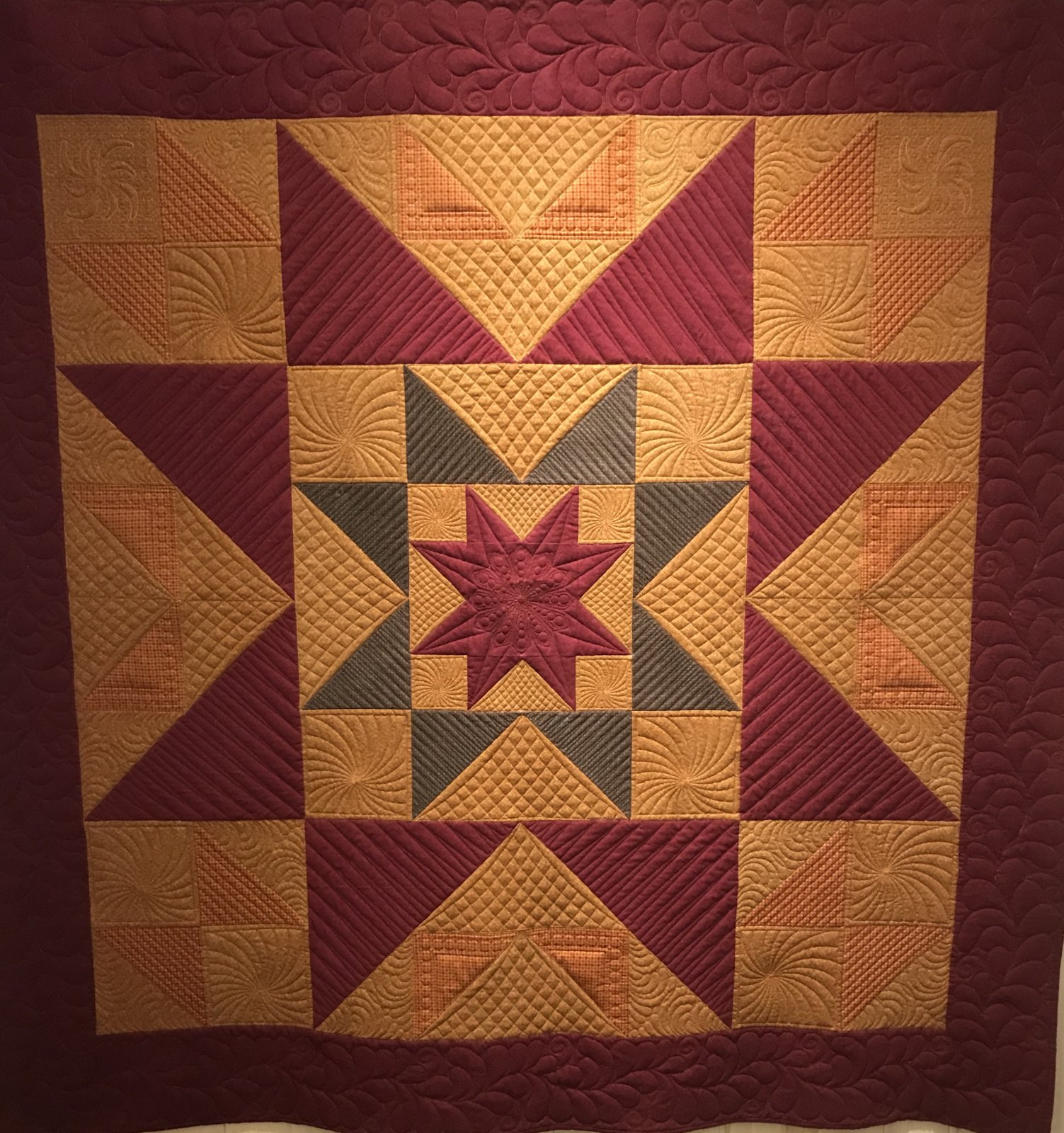Custom - Burgundy/Gold Star Quilt