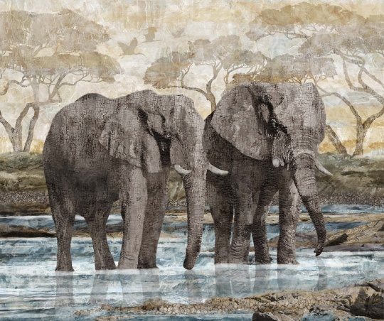 New Dawn- Elephant Panel