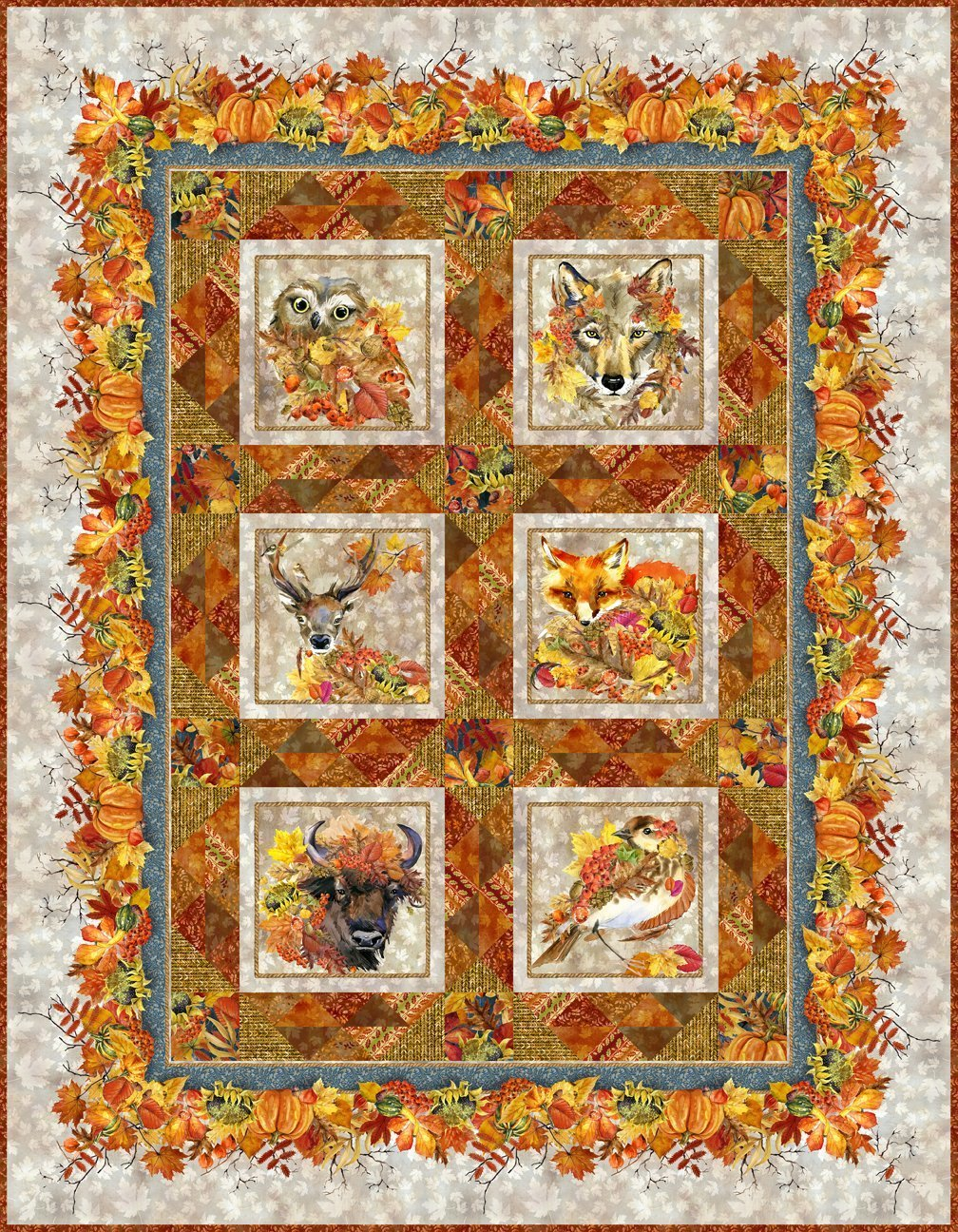 Our Autumn Friends Quilt Kit- Taupe (includes binding)