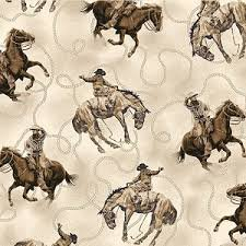 Quilting Treasures Round 'Em Up Cowboy on Horse- Cream 26605 E 150