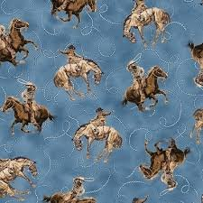 Quilting Treasures Round 'Em Up Cowboy on Horse- Dark Blue 26605 B 150