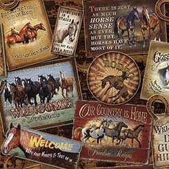 Quilting Treasures Round 'Em Up Horse Patches- Brown 26603 A 150
