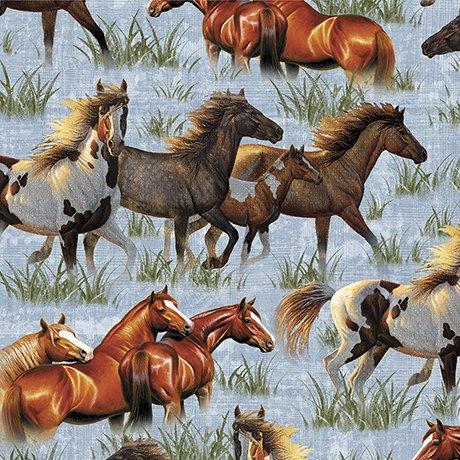 Quilting Treasures Round 'Em Up Running Horses- Blue 26604 B 150