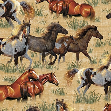 Quilting Treasures Round 'Em Up Running Horses- Chamois 26604 S 150