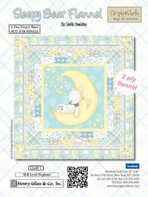 Sleepy Bear Flannel Quilt Kit (Includes Binding)