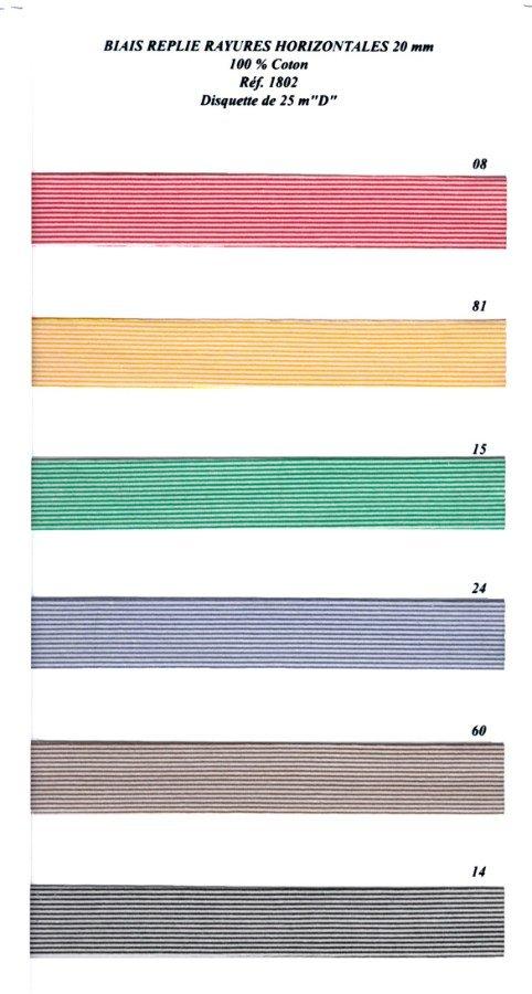 #8 -01802 Striped Bias, 100% Cotton, 20mm