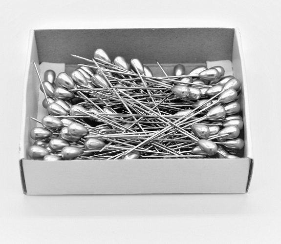 2 Teardrop Corsage Pins - Pewter Greg 144Pk