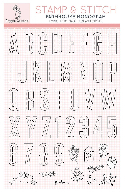 Rubber Stamp & Stitch Farmhouse Monogram Label