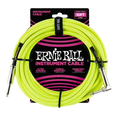 Cable - Ernie Ball 10' Braided Neon Yellow 6080EB