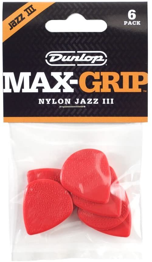 Picks - Dunlop Nylon Jazz III MaxGrip Playerpack 471P3N