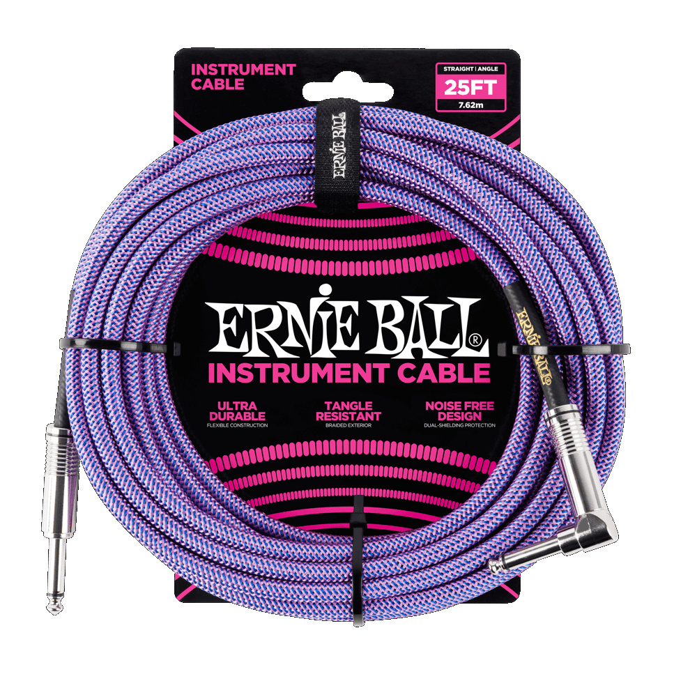 Cable - Ernie Ball 25' Straight/Angle Braided Cable Purple 6069EB