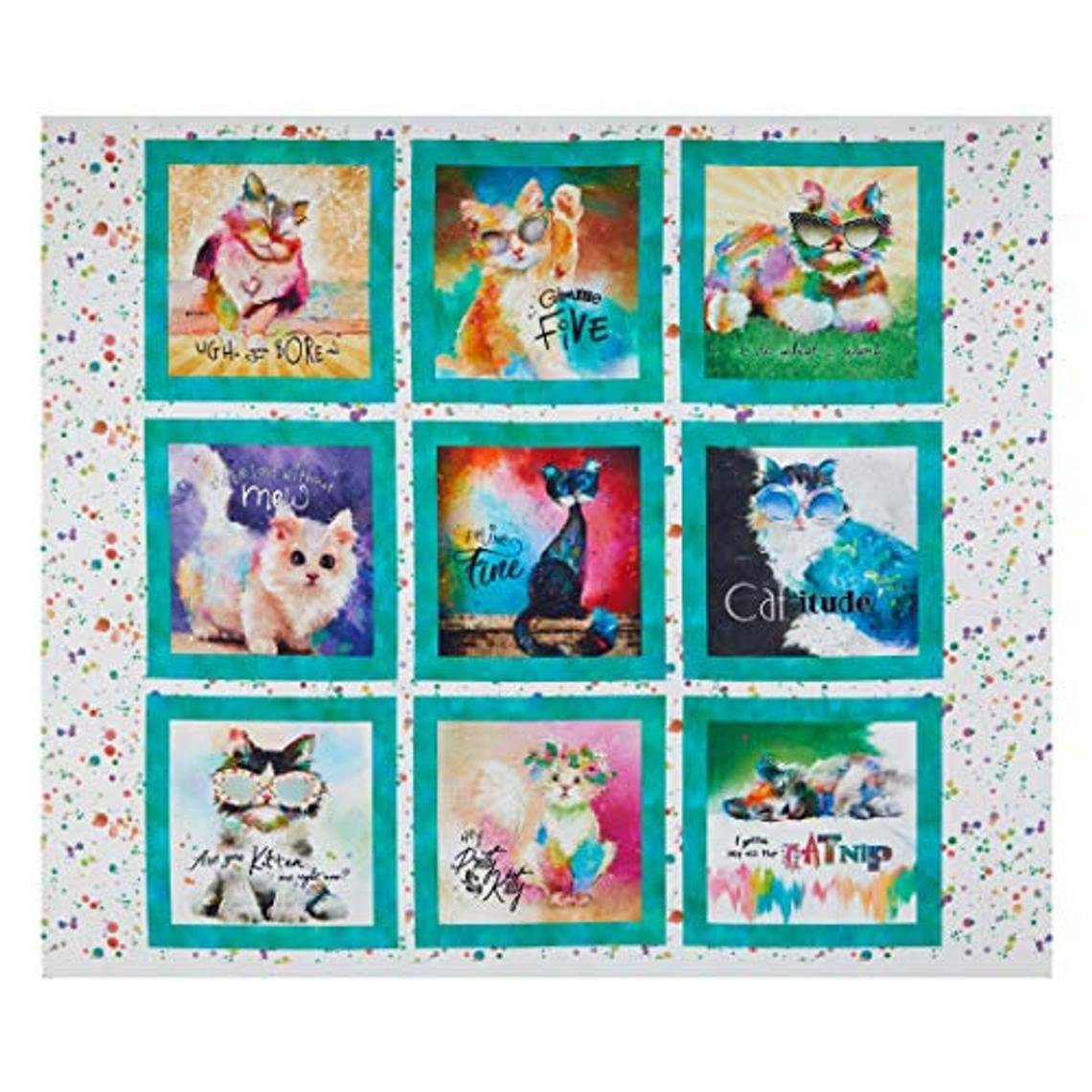 3 Wishes Digital Good Kitty Cat 36in Panel White Fabric